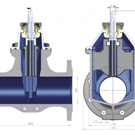 Размер строительной длины задвижки в соответствии с EN 558, базовые серии R14 и R15