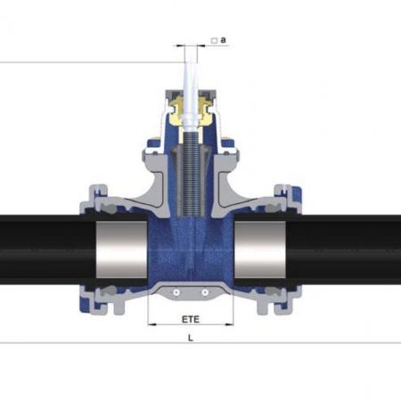 Задвижка с обрезиненным клином тип 4004 с трубными концами из PE 100 под сварку