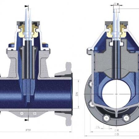 Задвижка с обрезиненным клином типы 2004 и 4004 - для ремонтных работ
