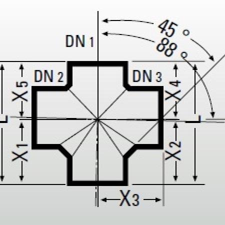 Крестовина одноплоскостная 88° Düker MLK-Protec